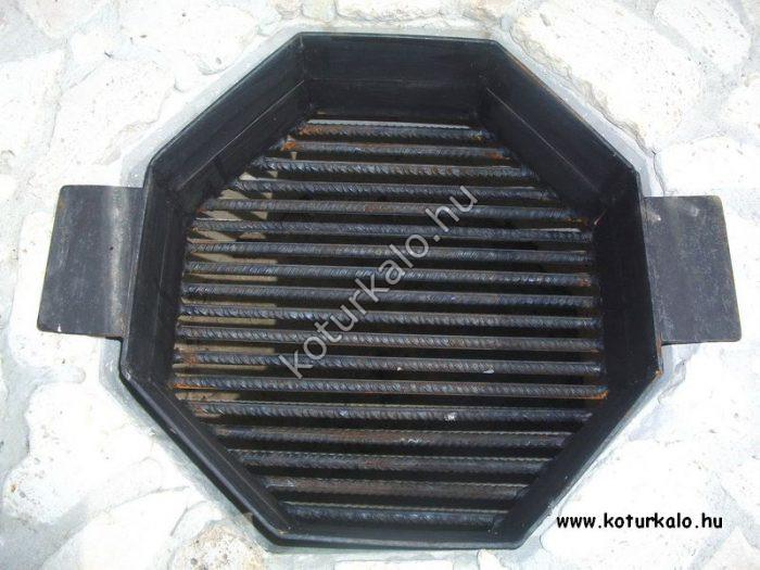 Nyolcszögletű fekete tűztér kettő fémtartóval ellátva
